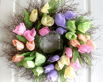 Tulip Spring wreath, Spring wreath for front door, Spring decor, Easter wreath, gift