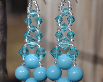 Turquoise Swarovski Elements Pearl and Crystal Wedding Bridal Prom Chandelier  Earrings