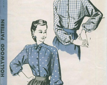 1940's Hollywood 1789 Blouse Shirt Sewing Pattern Vintage Size 16 Unused