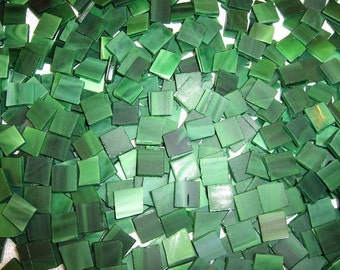 100 1/2 Inch Spruce Green Tumbled Stained Glass Mosaic Tiles