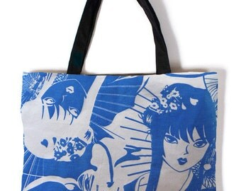 Blue Anime Girl Canvas Carry Bag