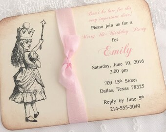 Alice in Wonderland Invitations Pink Set of 10 Baby Shower Bridal Shower Birthday Invites Printed