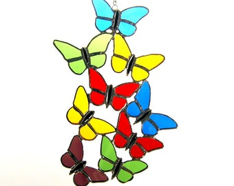 Handcrafted Stained Glass Butterflies Suncatcher Sun Catcher