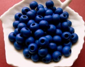 Dark Blue Wooden Beads - Over 100 - 8mm Navy Blue Wood Beads (WBD0095)
