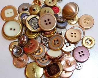 Vintage Metal Buttons x 50 pieces, New Old Stock Garment Buttons
