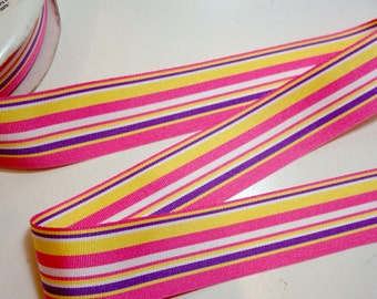 Striped Ribbon, Pink and Purple Stripe Grosgrain Ribbon 1 1/2 inches wide x 10 yards, Offray Hampton Ribbon