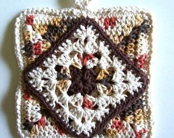Potholder, Handmade Crocheted Cotton Granny Square Pot Holder or Trivet in Shades of Brown