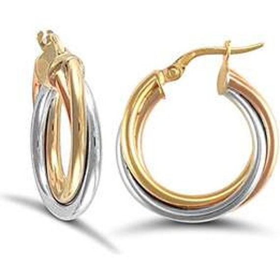 9ct Yellow Gold, 9ct White Gold and 9ct Rose Gold Russian Wedding Style 20mm  Hoop Earrings