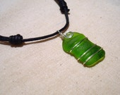 Green Wire Wrapped Sea Glass Necklace -Adjustable Black Cord Choker -Beach Glass Jewelry