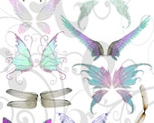 Fairy Wings collage sheet  and Individual PNG Images
