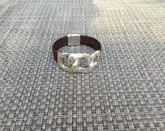 Silver Chain & Leather Bracelet