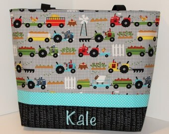 Personalized Diaper Bag .Tote . Weekender/XL size . Oink A Doodle and Aqua . monogrammed FREE .  tractor diaper bag . boy diaper bag