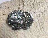 PMC Precious Metal Clay Pure Silver Handmade Mermaid Pendant Necklace