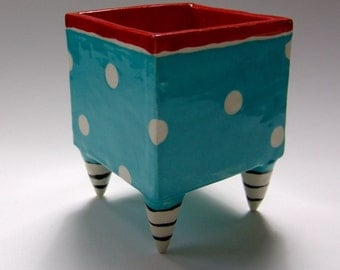 pottery Desk Dish ceramic Red & Turquoise whimsical polka-dots, striped feet, pencil cup, candy dish