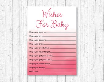 Blush Pink Watercolor Wishes for Cards / Watercolor Baby Shower / Pink Ombre / Pink Watercolor / Baby Girl / Printable INSTANT DOWNLOAD A108