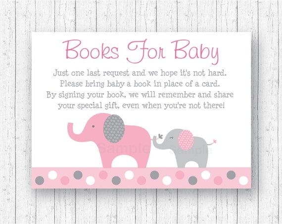 baby shower book request cards books for baby elephant baby shower