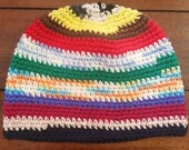 Hippie Multi Color Cotton Tight Stitch Beanie, Long Length - Limited Edition, Ready to Ship SALE!!