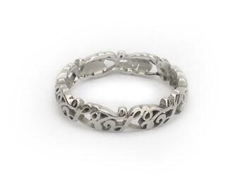 CUSTOM Initials Filigree Pierced Scroll Wedding Ring Band Small No Borders