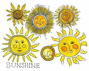 Always Sunny, Kids Artwork, Nursery Decor, Wall Art Prints, Sunshine Watercolor Sketch, Cute Office Decor
