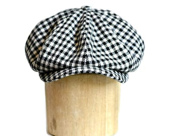 Men's Newsboy Hat - Black and White Check Newsboy Cap in Vintage Wool - READY TO SHIP via 3 Day Priority