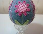 Hand Stitched Wool Easter Egg - Home Decor - Easter Decor - Folk Art - Fiber Art - Primitive - Easter - Based on Pysanky Eggs - Wool Felt