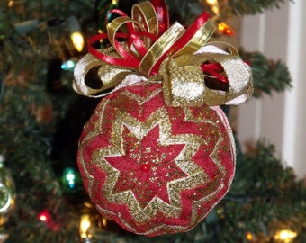 "5"" Diameter Red and Gold Ribbon Quilted Christmas Ball - Holiday Decor - Tree Decoration - Christmas Ball -  Christmas - Ribbon - HDM - OFG"