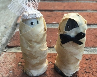 Mini Marble Friends Mummy Wedding Couple Cake Topper  Set of Two  Bride and Groom Shown icy pearl and black and silver swirl wrapped in Tea