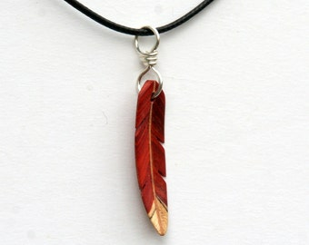 Handcarved Redheart, Spalted Hackberry and Maple Wood  Leaf / feather  Pendant  J160383