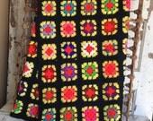 Vintage Granny Square Lap Blanket - Black Multi Color Classic Afghan - 47 x 68