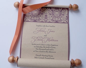Castle invitations, scroll invitations, burgundy and copper, medieval wedding invitations, set of 15 scrolls