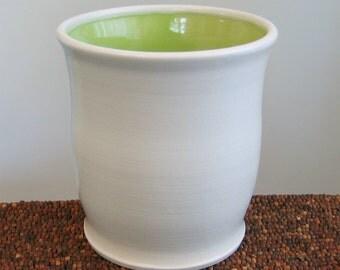Utensil Crock - Ceramic Utensil Holder in Lime Green - Stoneware Pottery Utensil Caddy