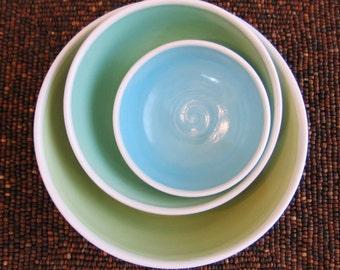 Ceramic Nesting Bowls - Wedding Gift - Stoneware Pottery Serving Bowl Set in Seaside