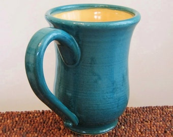 Coffee Mug, Tall Ceramic Pottery Mug in Peacock and Sunflower 12 oz. Handmade Stoneware