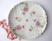 Large Serving Platter Antique Zdekauer Austrian Pink Round - Weddings Bridal Cottage Chic