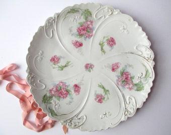 Large Antique Zdekauer Austrian Pink Round Serving Platter Weddings Bridal Cottage Chic