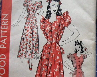 Vintage Sewing Pattern 1950s Womens Dress Pattern Pinafore Style Hollywood 1240 Sz 14 Uncut