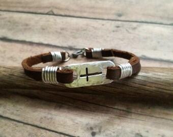 Cross Bracelet, Leather Cross Bracelet, Hand Stamped Cross Bracelet, Confirmation Bracelet, First Communion Bracelet, Baptism Gift, Religion