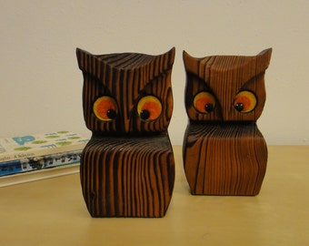 Vintage Wooden Owl Bookends