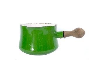 Vintage 60s DANSK Pourer - Dansk Enamel - IHQ - Dansk Green -  Sauce Pan - Gravy Boat - Butter Warmer - France - Kobenstyle - Danish Modern