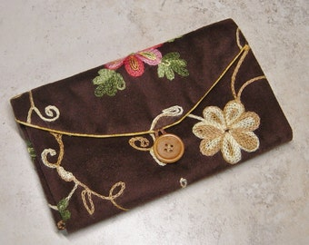 Travel Jewelry Organizer, Clear Pocket Organizer,Folkloric Floral Embroidered Brown Faux Suede Fabric, Jewelry Wallet, Travel Gift