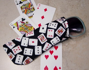 Sunglass Case,Eyeglass Case,Playing Cards Fabric Case,Gamblers Gift,Eye Glass Sleeve,Card Players Gift,Casino,Las Vegas