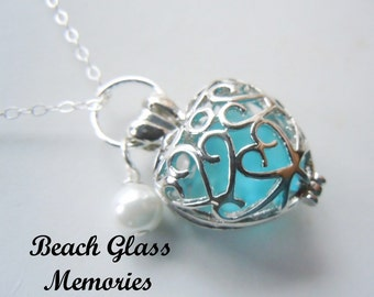 Heart Locket Sea Glass Necklace Turquoise Beach Glass Pendant Necklace Seaglass Jewelry