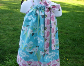 Chloe Birds in Sky Pillowcase dress in sizes 6M to  7Y
