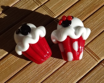 Mouse Themed  Cupcake Beads in Red--- Handmade LAMPWORK Cupcake Pair