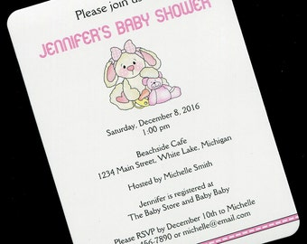 Baby Shower Invitations - Baby Girl Shower Invitation - Personalized Baby Shower Invitation - Bunny With Teddy Bear And Pacifier - Set of 20