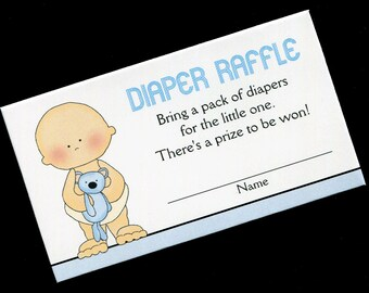 Diaper Raffle Tickets - Diaper Raffle Inserts - Baby Shower Game - Baby Boy - Blue - Set of 25