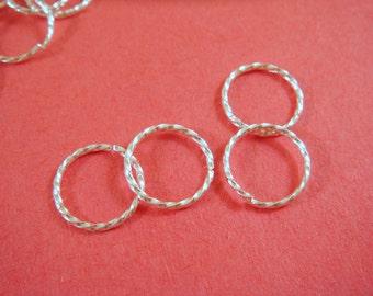 50 - 10mm Silver Twisted Jump Rings Fancy Round Open 18 gauge Brass 10mm Outside - 50 pc - 5282