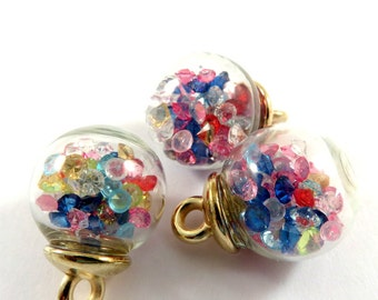 3 Glass Apothecary Bottle Charm Pendants Drops Filled with Rhinestone Beads, 22x16mm - 3 pc - MS11050-BT3
