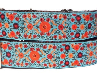 "GreytEscape's martingale dog collar 1.5"" wide BLOOM teal and orange floral"