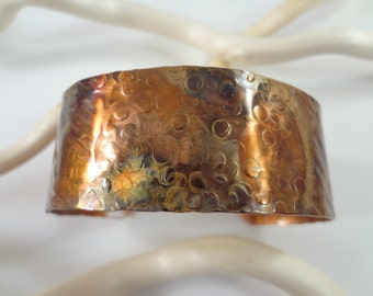 Hammered, textured,  torched and sealed Copper Cuff Bracelet